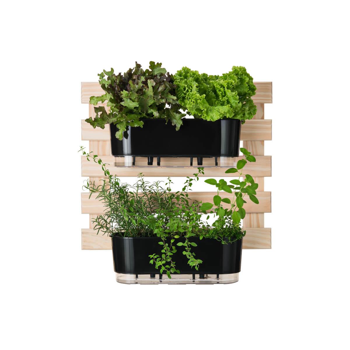 Kit Horta Vertical 60cm x 60cm com 2 Jardineiras Pretas  - Loja Raiz