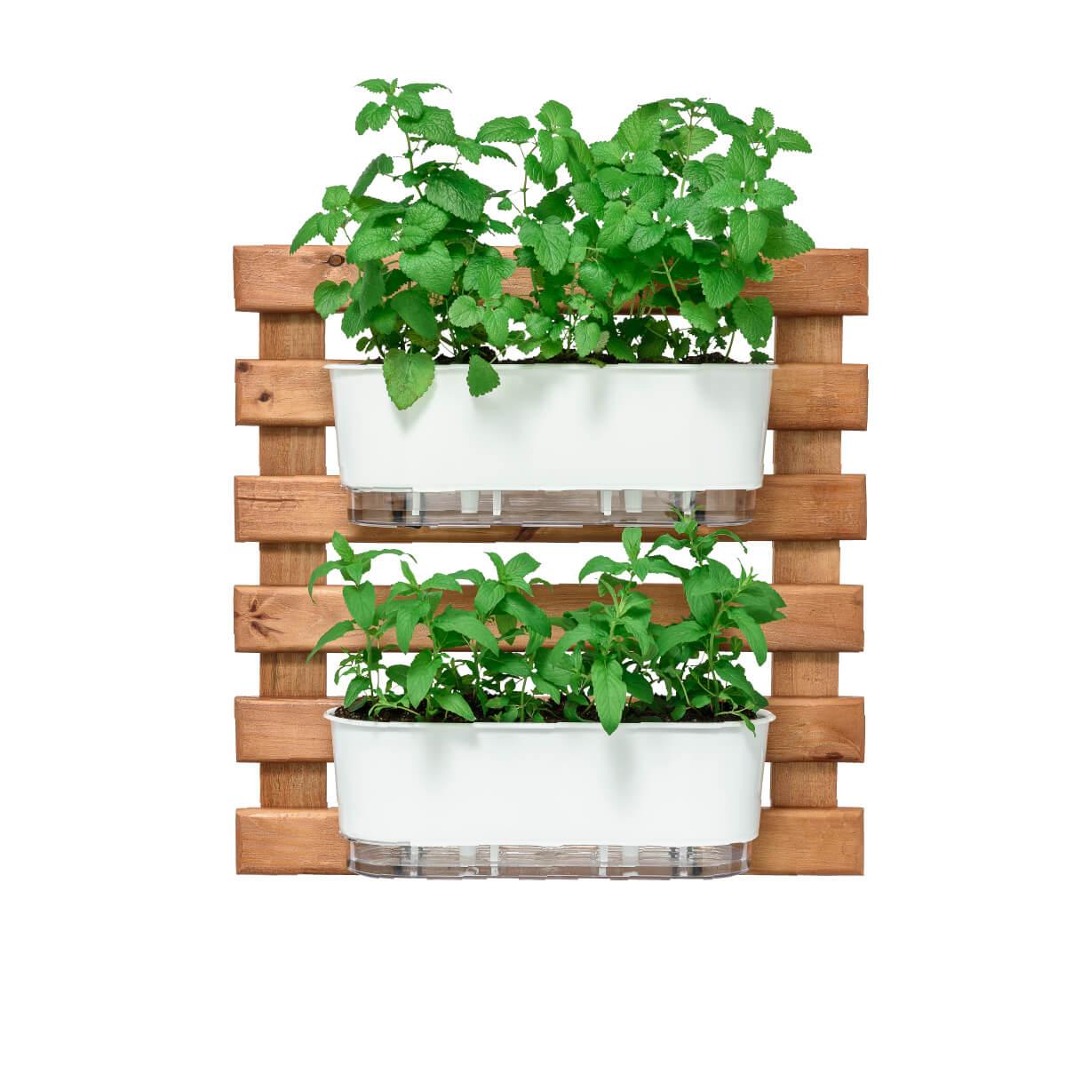 Kit Horta Vertical 60cm x 60cm com 2 Jardineiras Brancas  - Vasos Raiz Loja Oficial