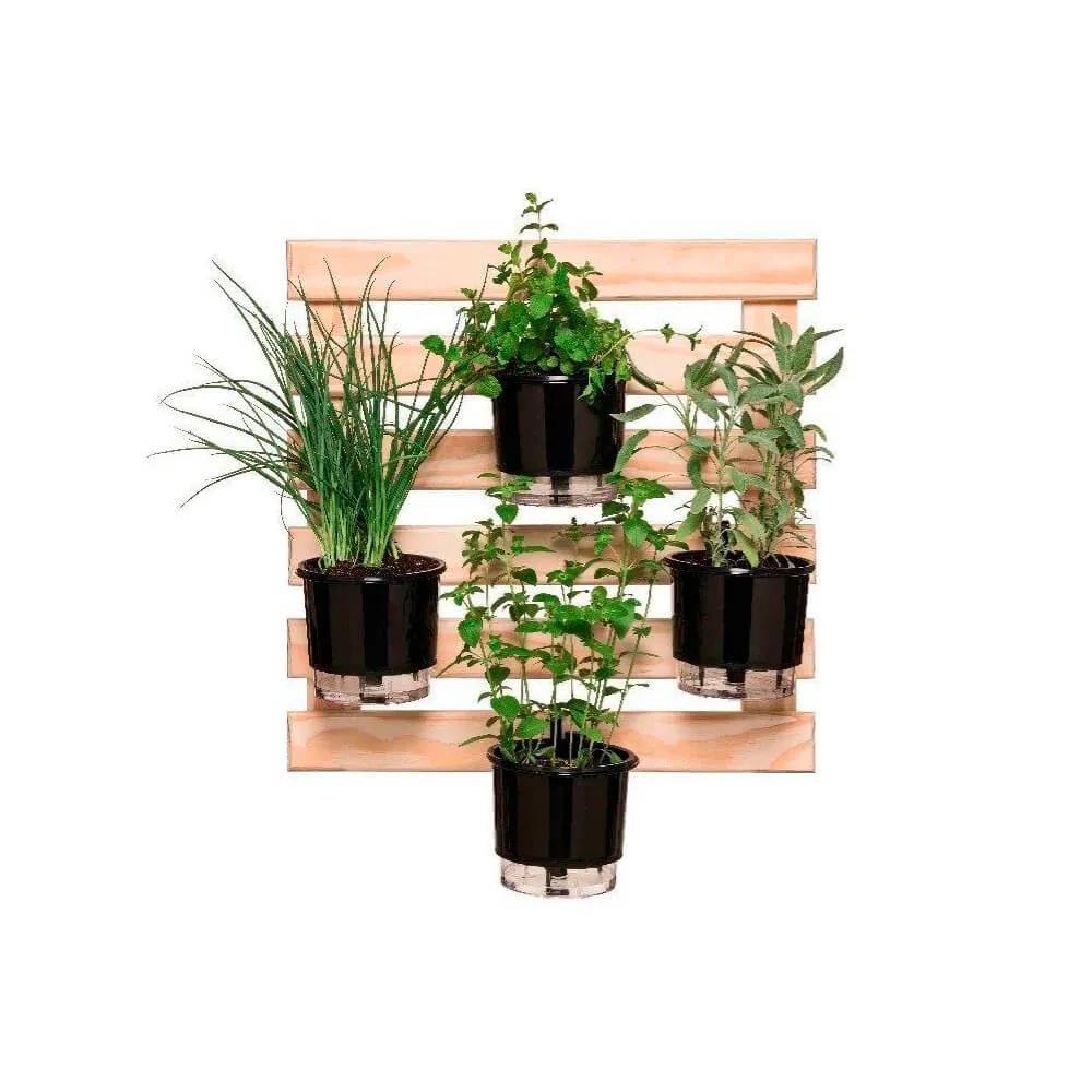 Kit Horta Vertical 60cm x 60cm com 4 Vasos Pretos  - Loja Raiz