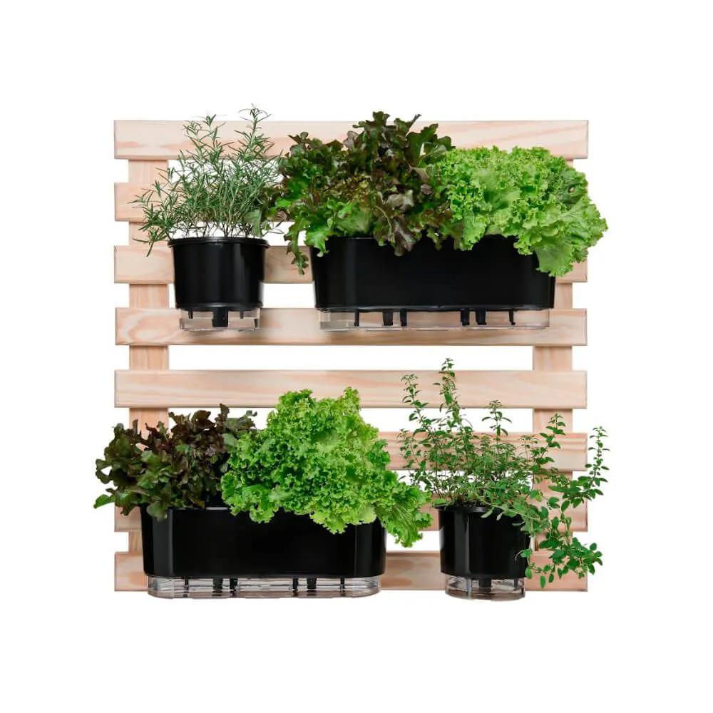 Kit Horta Vertical 80cm x 80cm com 2 Jardineiras e 2 Vasos Pretos  - Vasos Raiz Loja Oficial