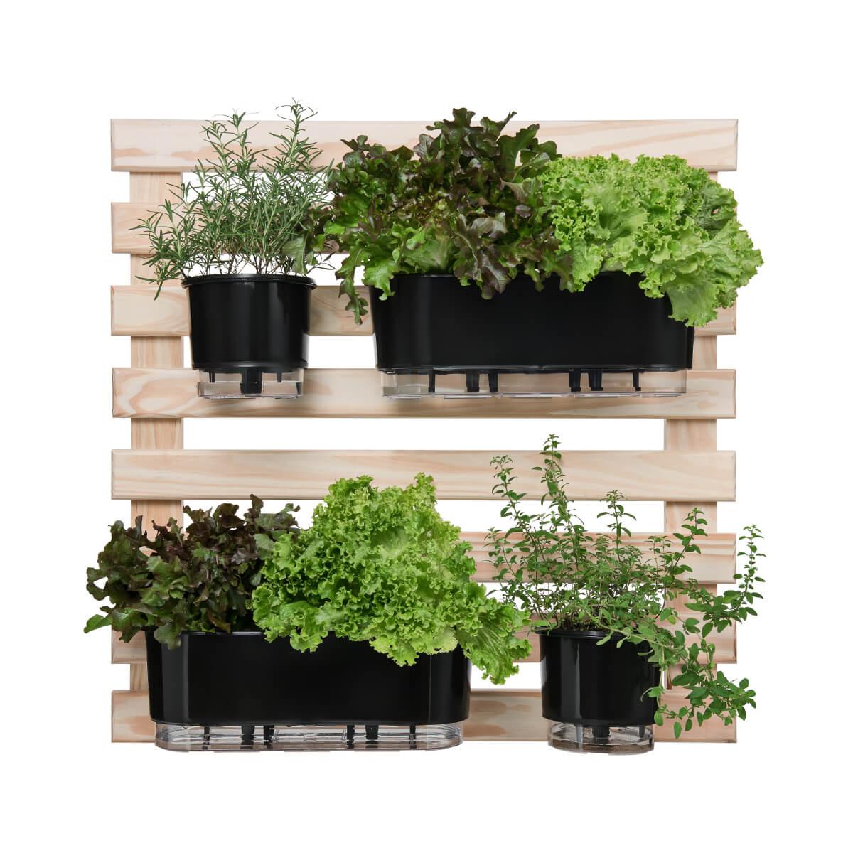Kit Horta Vertical 80cm x 80cm com 2 Jardineiras e 2 Vasos Pretos  - Loja Raiz