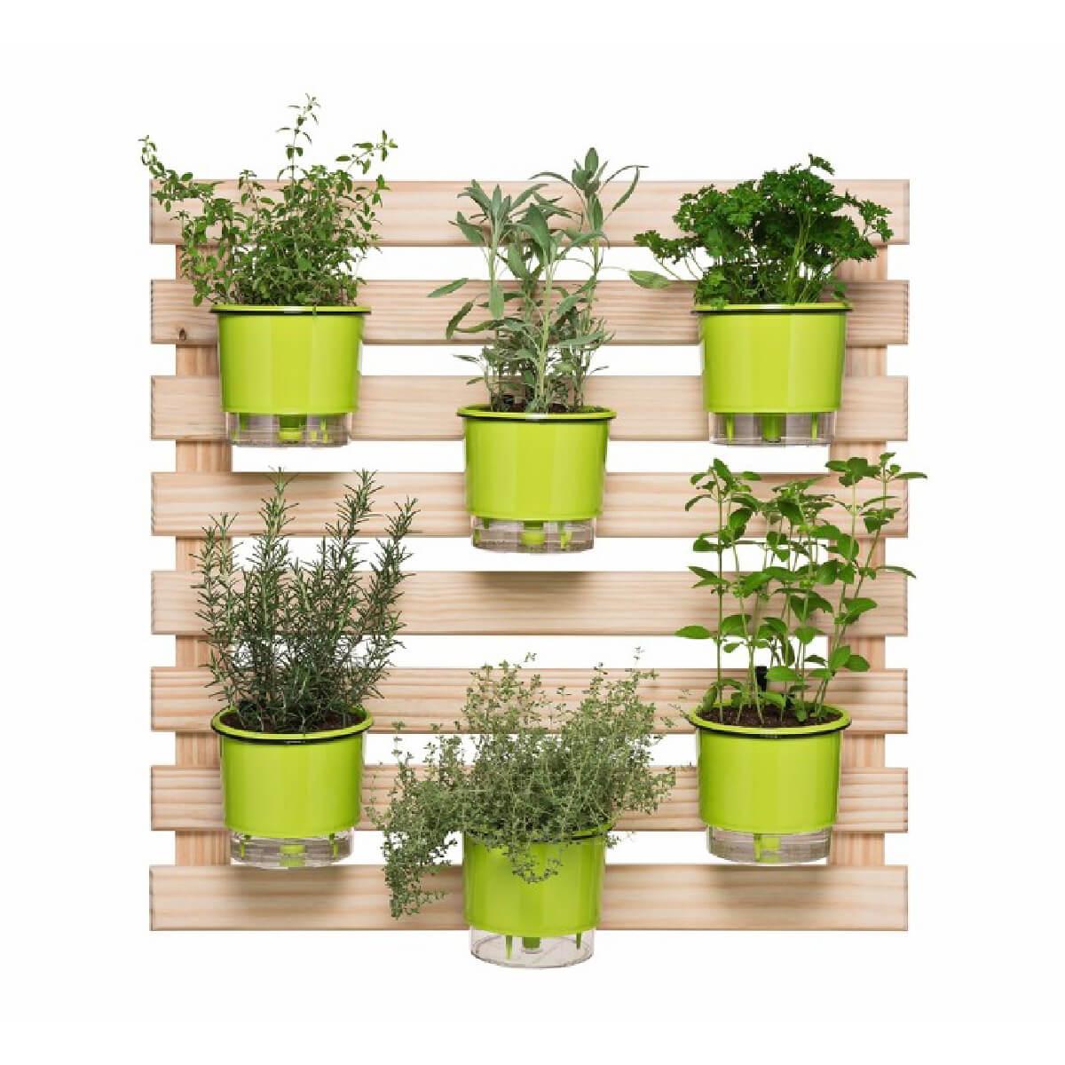 Kit Horta Vertical 80cm x 80cm com 6 Vasos Verde Claro  - Loja Raiz