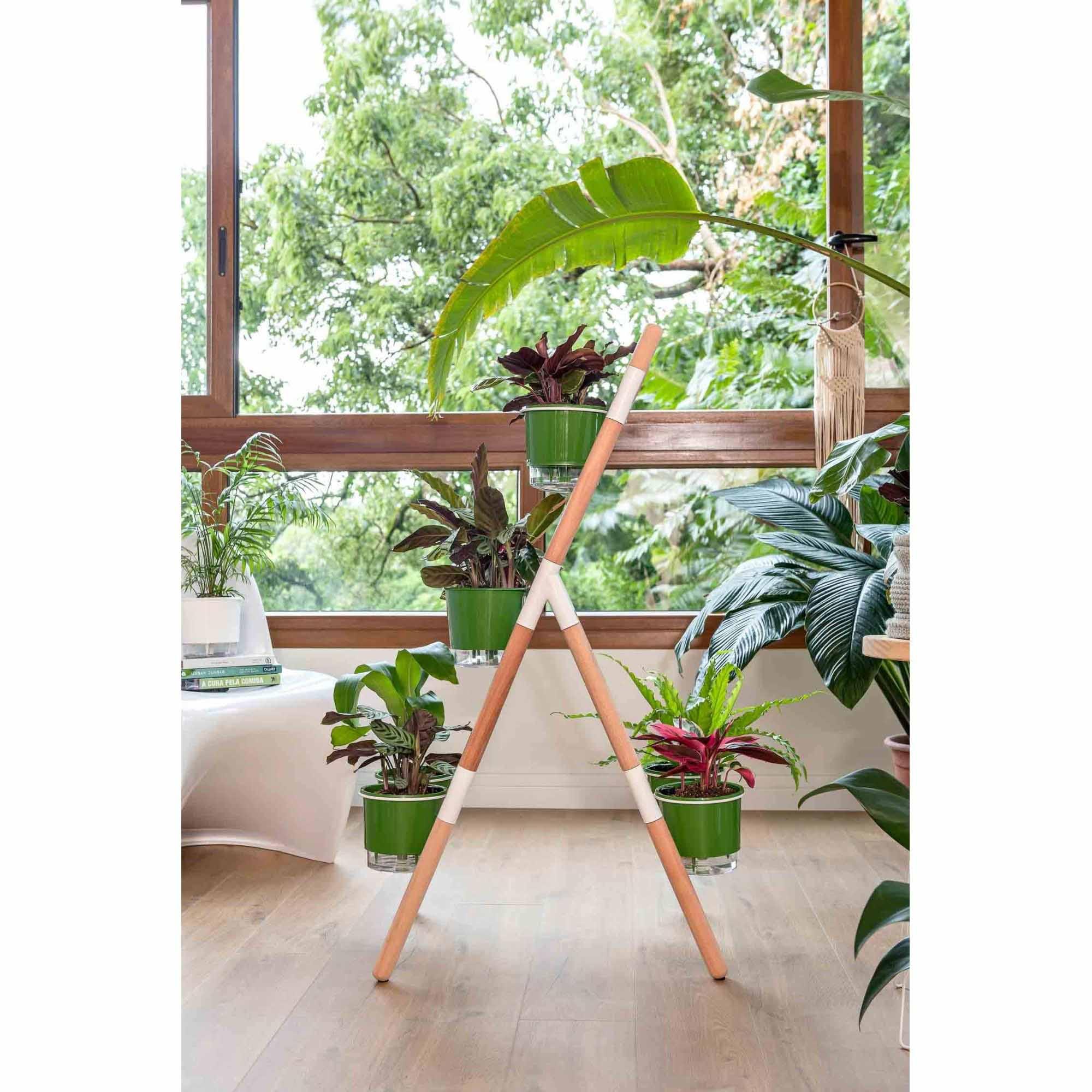 Kit Horta Vertical Escada Eleve Raiz 3 Níveis Branco e Verde