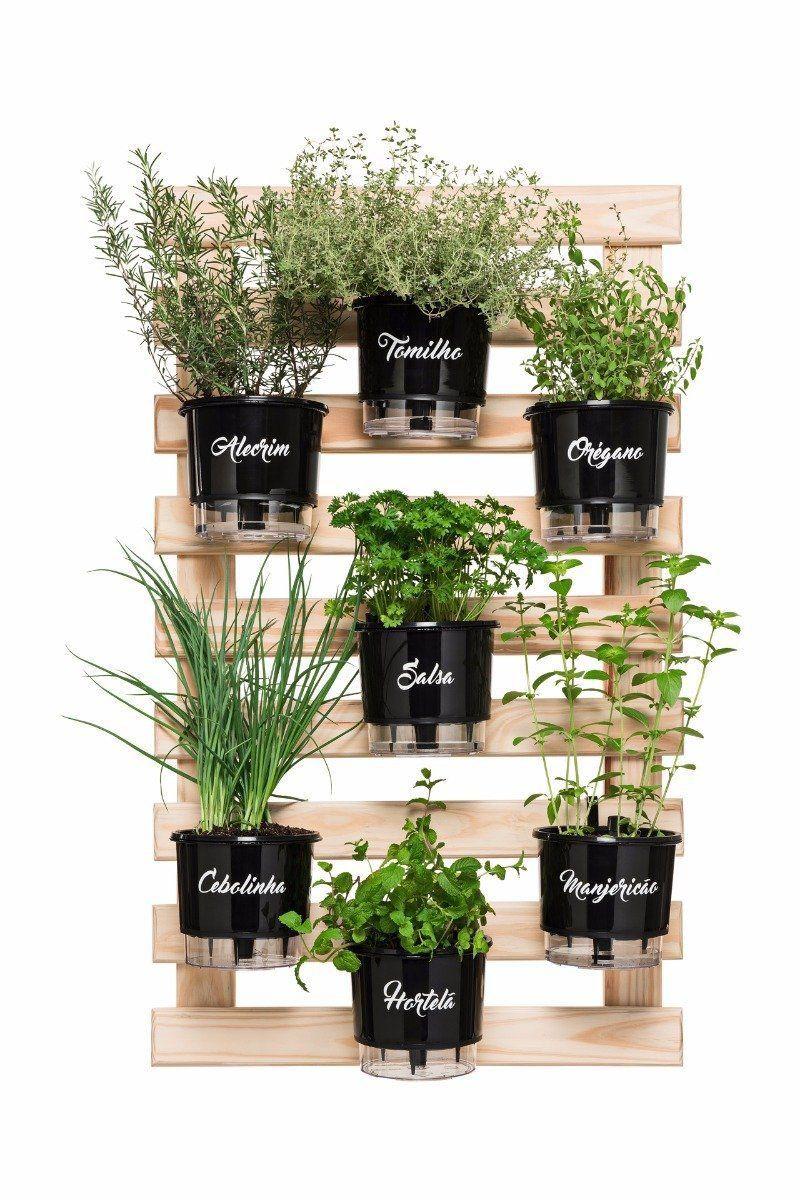 Kit Horta Vertical Gourmet 100cm x 60cm com 7 Vasos Preto