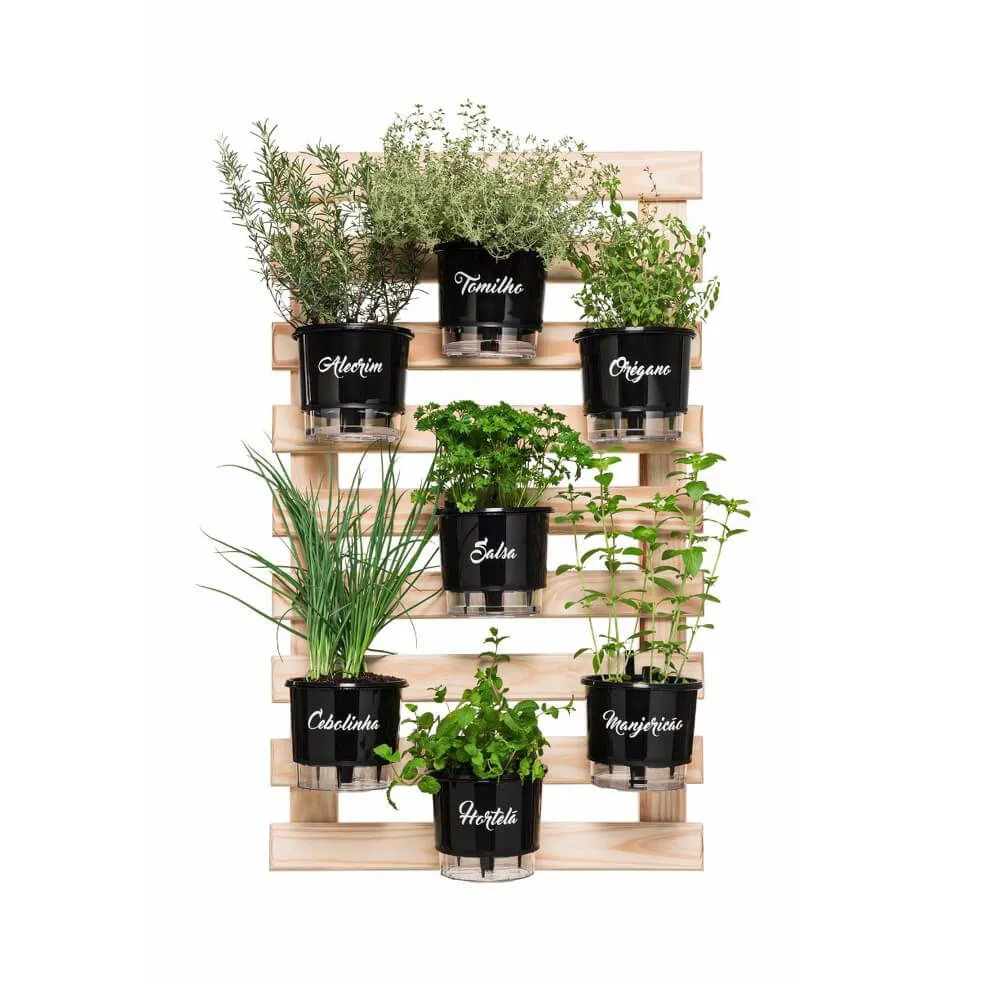 Kit Horta Vertical Gourmet 60cm x 100cm com 7 Vasos Preto  - Vasos Raiz Loja Oficial