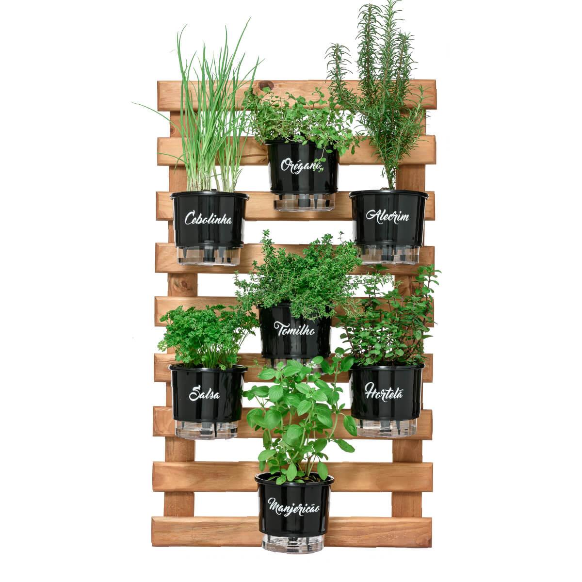 Kit Horta Vertical 60cm x 100cm com 7 Vasos Pretos Gourmet  - Loja Raiz
