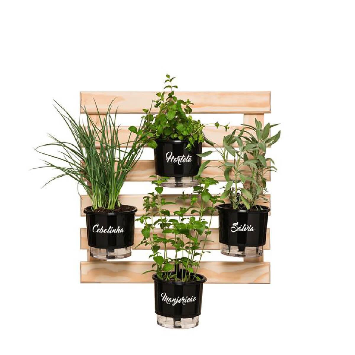 Kit Horta Vertical 60cm x 60cm com 4 Vasos Gourmet  - Vasos Raiz Loja Oficial