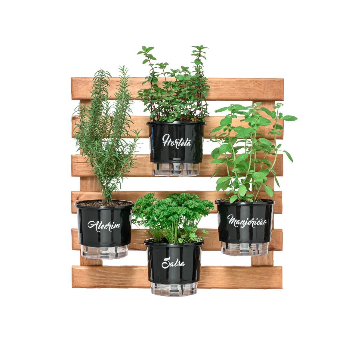 Kit Horta Vertical Gourmet 60cm x 60cm com 4 Vasos gourmet  - Vasos Raiz Loja Oficial