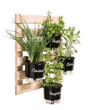 Kit Horta Vertical Gourmet 60cm x 60cm com 4 Vasos Preto