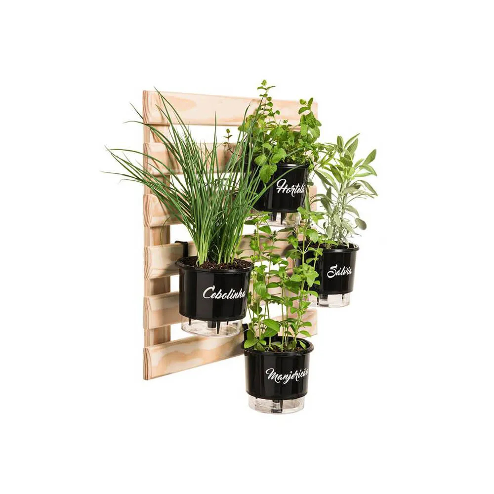 Kit Horta Vertical Gourmet 60cm x 60cm com 4 Vasos Preto  - Vasos Raiz Loja Oficial