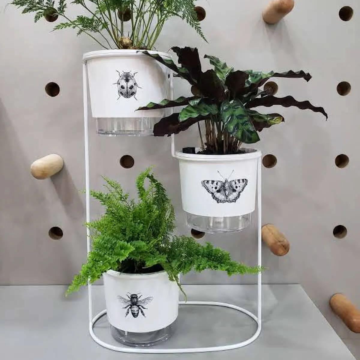 03 Vasos Autoirrigáveis Jardim de insetos em Aramado cascata 02 anéis  - Vasos Raiz Loja Oficial