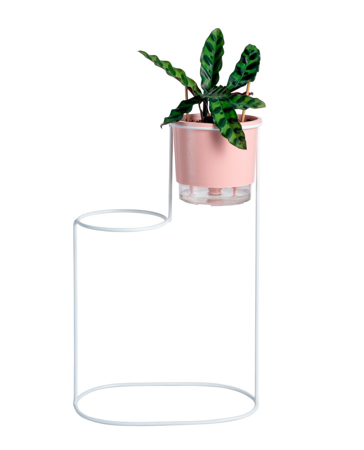 Suporte Aramado Cascata Branco 40cm para 02 Vasos Raiz Pequenos N02
