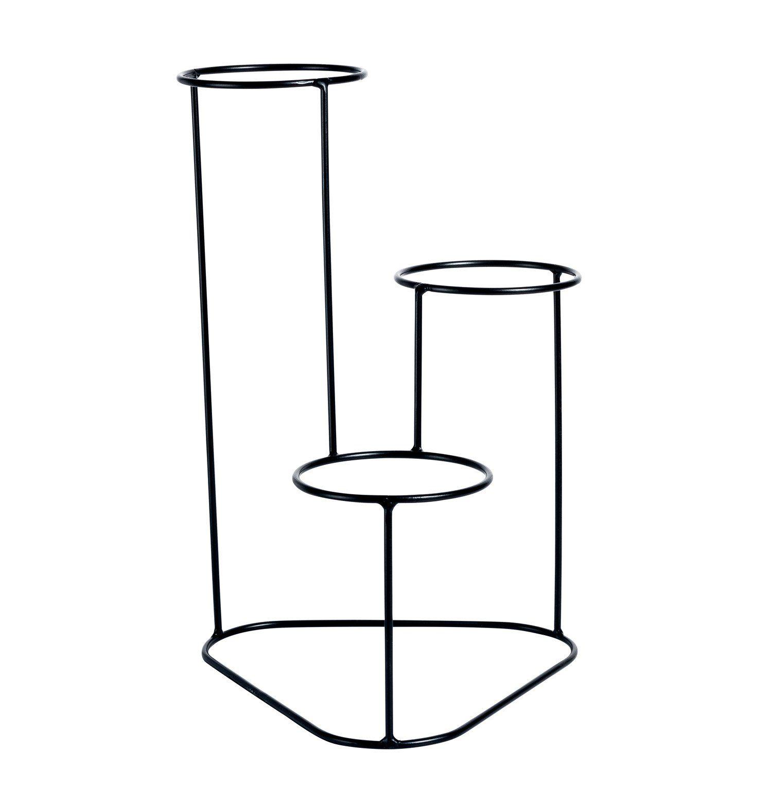 Suporte Aramado Cascata Preto 40cm para 03 Vasos Raiz Pequenos N02  - Vasos Raiz Loja Oficial