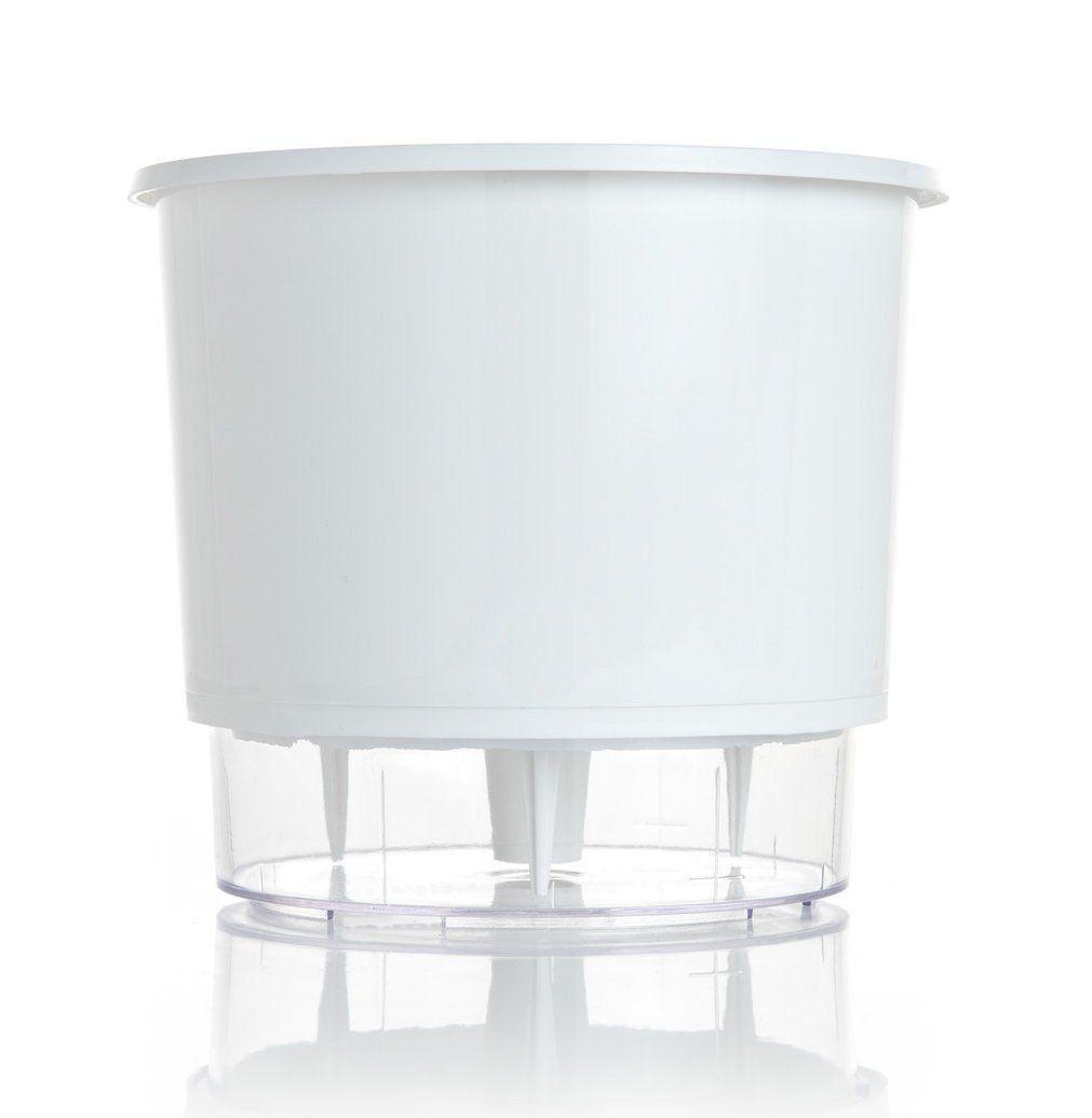 Vaso Autoirrigável Branco Grande 21,5cm x 19cm N04  - Vasos Raiz Loja Oficial