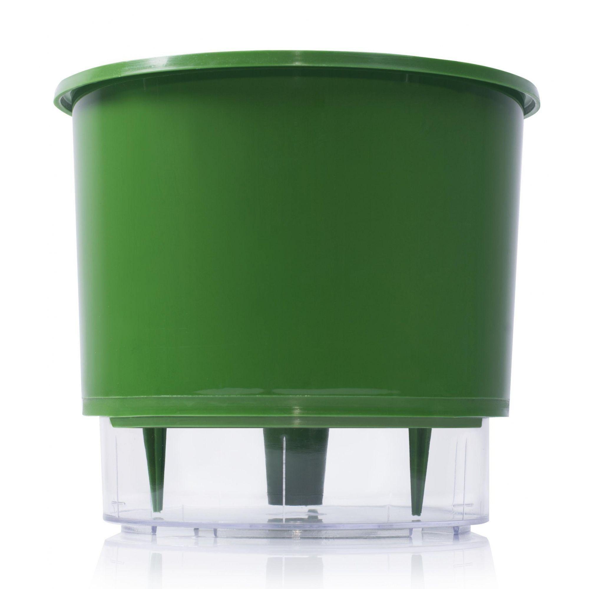 Vaso Autoirrigável Médio 16cm x 14cm Verde Escuro