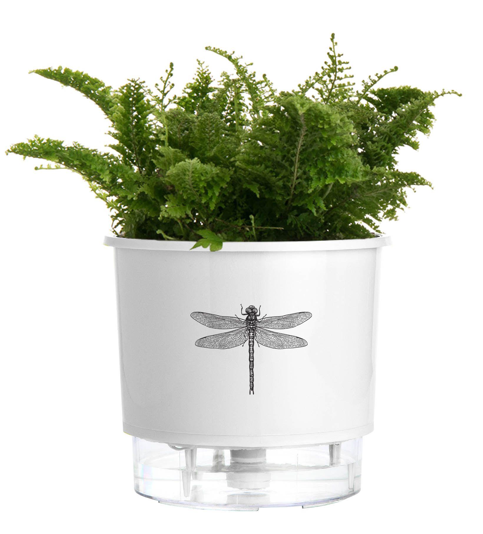 Vaso Autoirrigável Pequeno N02 12cm x 11cm Branco Libélula Coleção Jardim de Insetos  - Vasos Raiz Loja Oficial