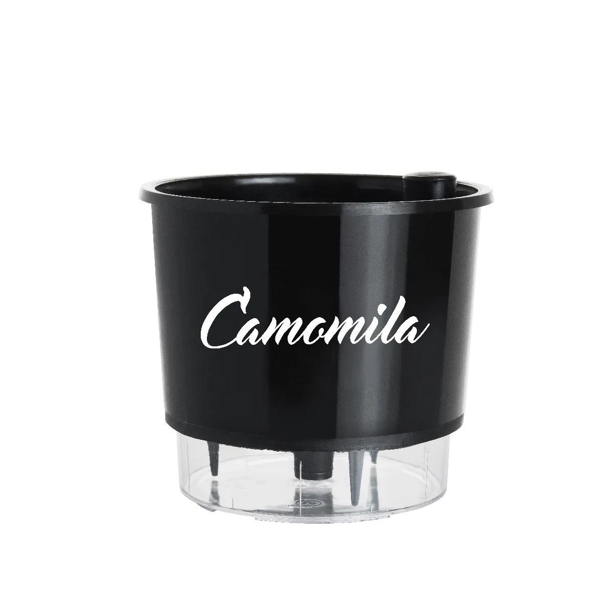 Vaso Autoirrigável Médio Preto Coleção Gourmet 16cm x 14cm Camomila  - Vasos Raiz Loja Oficial