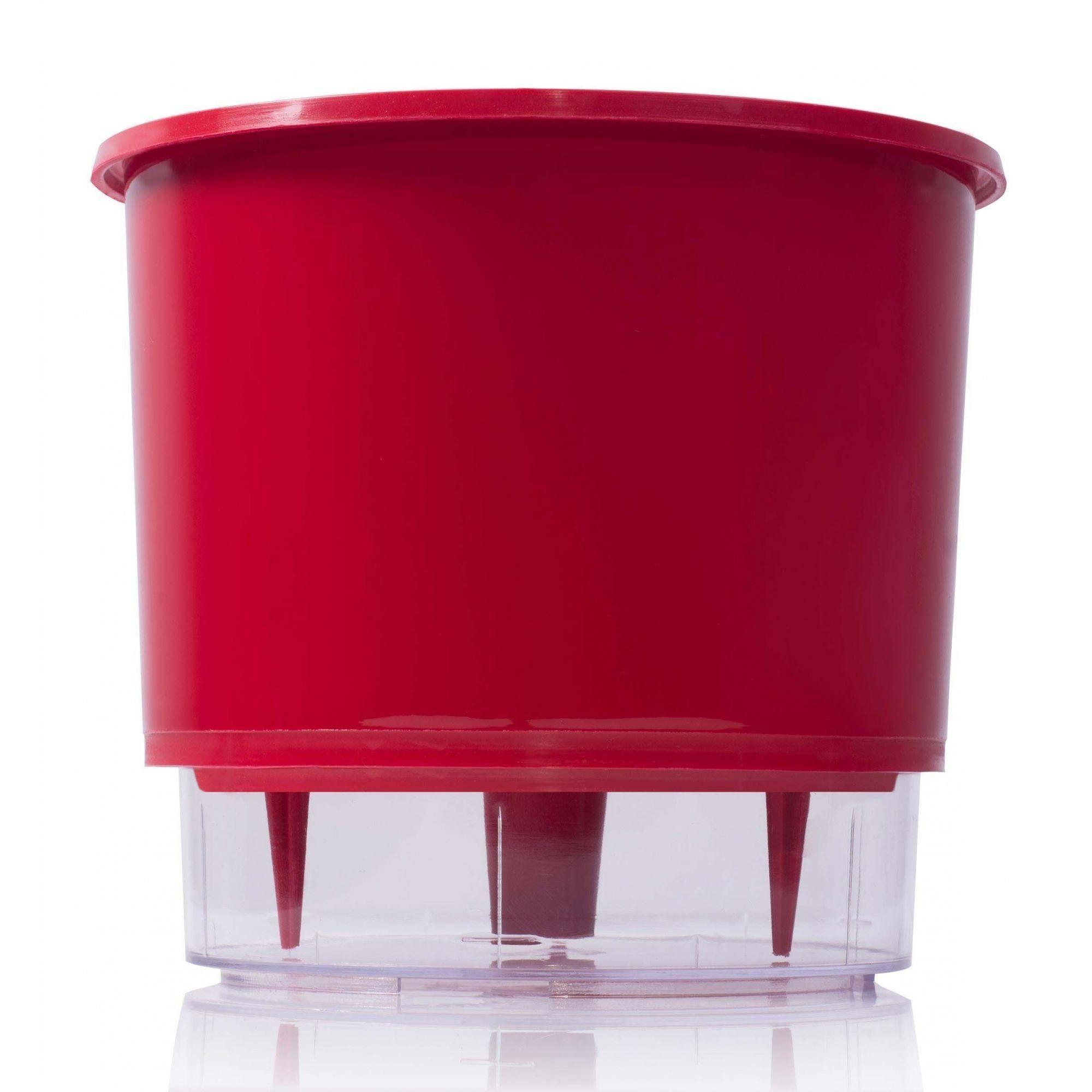 Vaso Autoirrigável Pequeno 12cm x 11cm Vermelho