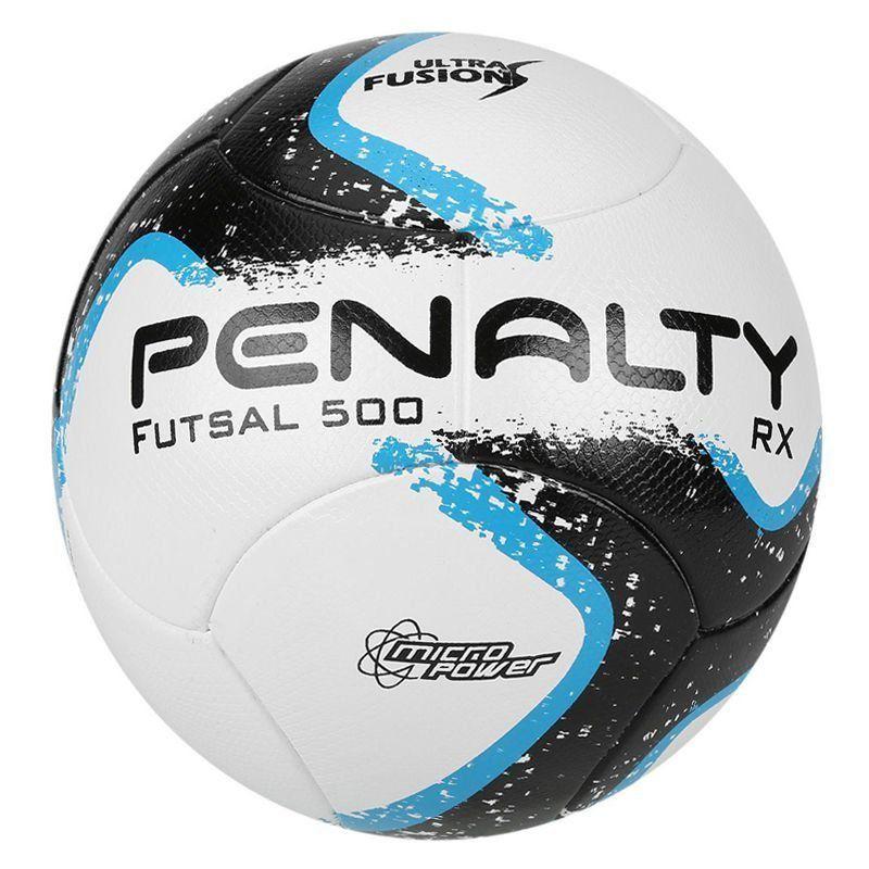 Bola Penalty RX 500 R1 Fusion VIII Futsal Branca e Azul - Penalty 71c741ba09898