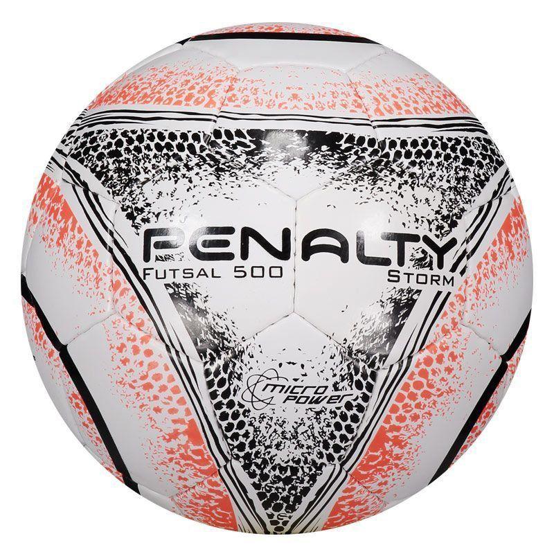 Bola Penalty Storm 500 VIII Futsal Branca e Laranja - Penalty 0391fa760f5b5