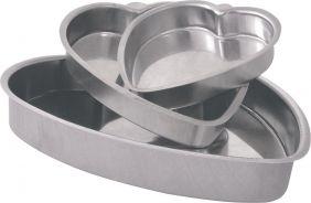 Assadeira Forma Bolo Formato de Coração em Alumínio 3 Tamanhos