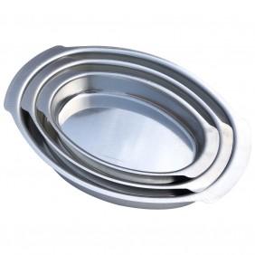 Kit 3 Assadeiras Formas Oblonga Oval Para Bolo Torta Peixe Pavê Doces em Alumínio 3 Tamanhos