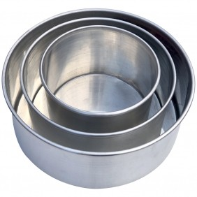 Kit 3 Assadeiras Formas Redondas Para Bolo em Alumínio Borda Alta Reforçada