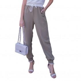Calça Feminina Jogger em Crepe Plano Com Bolsos Cintura Alta Com Cós e Cordão Branco