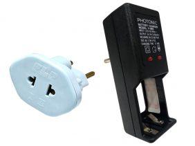 Carregador de Pilha AA para 2 ou 4 pilhas Com Adaptador de Tomadas de Brinde