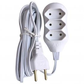 Régua Extensão Elétrica New POP 3 Tomadas 2p 10A 10 Metros Cabo Paralelo Bivolt 127V e 250V