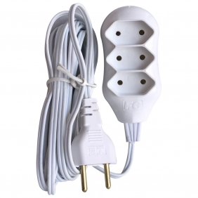 Régua Extensão Elétrica New POP 3 Tomadas 2p 10A 5 Metros Cabo Paralelo Bivolt 127V e 250V