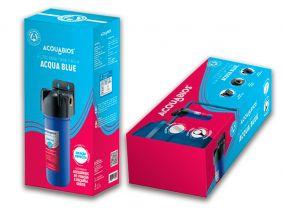 Filtro Para Caixa D' Água Rosca Metálica Acqua Blue Acquabios Com Suporte de Parede e Refil Extra Para o Filtro