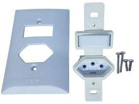 Interruptor Simples 1 Tecla + Tomada 10A 2p+t Com Espelho Branco Bivolt 127V e 250V