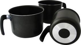 Jogo de Leiteira Caneco Fervedor de Alumínio Com Teflon Preto 3 Peças