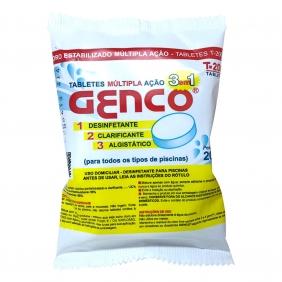 Kit 5 Cloro Para Piscina Tabletes Múltipla Ação 3 em 1 Genco 200g Desinfetante Clarificante Algistático