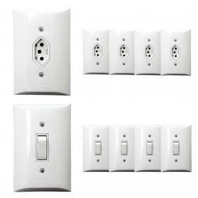 Kit 5 Tomadas Simples 2p+t 10A  + Kit 5 Interruptores Simples 1 Tecla Com Espelho Branco Bivolt 127V e 250V