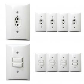 Kit 5 Tomadas Simples 2p+t 10A  + Kit 5 Interruptores Simples 2 Teclas Com Espelho Branco Bivolt 127V e 250V