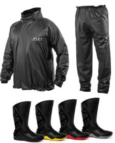 Kit Capa de Chuva Delta Flex Motociclista + Bota Motosafe PVC Motoqueiro