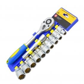 """Kit Jogo de Soquetes Hexagonais Com Chave Catracada Reversível Encaixe de 1/2"""" de Aço Cromo-Vanádio Com 12 Peças Linha Profissional"""