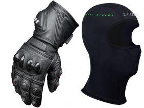 Luva X11 Epic Full Leather Cano Longo Em Couro Legítimo Com Proteção + Balaclava X11