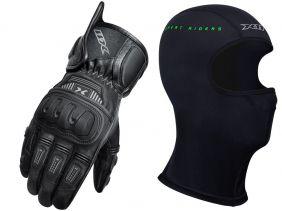 Luva X11 Impact 2 Cano Curto Couro Com Proteção + Balaclava X11 Touca Ninja Segunda Pele