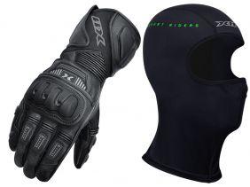 Luva X11 Impact 2 Cano Longo Couro Com Proteção + Balaclava X11 Touca Ninja Térmica Segunda Pele
