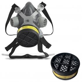 Máscara Respirador 1/4 Facial Mastt Alltec 2001 VO-GA Filtro de Uma Via Pintura Poeira Gases Nevoas Vapores + 01 Refil Cartucho Químico VO-GA