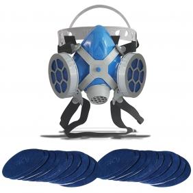Máscara Respirador Semi Facial Mastt Alltec 2402 P2 Filtro de Duas Vias Pintura Poeira Gases Nevoas Vapores + Kit Filtro P2 Com 20 Unidades