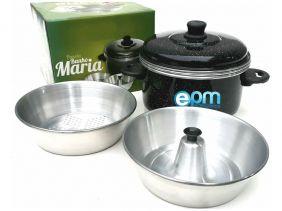 Panela Banho Maria Para Pudim e Alimentos no Vapor Kit 3 em 1
