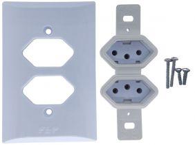 Tomada Dupla 2p+t 10A Com Placa Espelho Branco Com Inmetro Bivolt 127V e 250V
