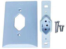 Tomada Simples 2p+t 20A Com Placa Espelho Branco Com Inmetro Bivolt 127V e 250V