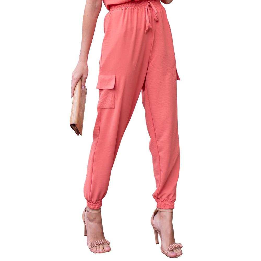 Calça Feminina Jogger em Crepe Amassado Cintura Alta Com Bolso Lateral Cargo