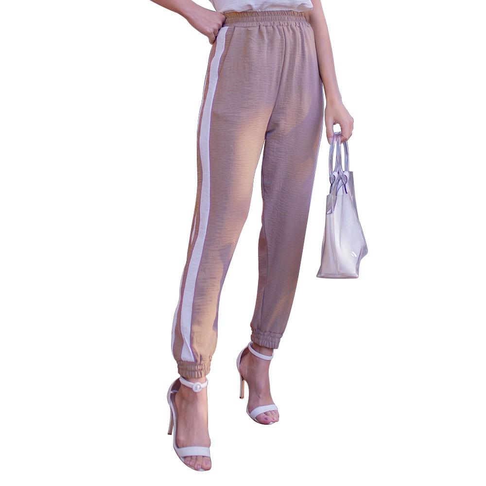Calça Feminina Jogger em Crepe Plano Com Bolsos Cintura Alta Com Duas Faixas Longas  - EPM Acessórios