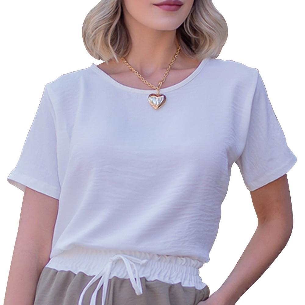 Camiseta Blusinha Básica em Tecido Crepe Manga Curta Branca Gola Redonda